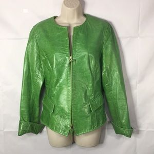 $895 Dana Buchman Women's green  leather jacket 8